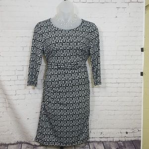 Milano Geo Print Ruched Bodycon Dress NEW